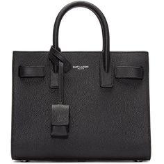 Saint Laurent Black Nano Sac de Jour Tote (7,540 ILS) ❤ liked on Polyvore featuring bags, handbags, tote bags, tote handbags, studded tote bag, handbag tote, structured tote and structured leather tote