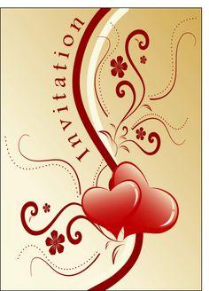 Carte Invitation mariage et coeurs pour envoyer par La Poste, sur Merci-Facteur !