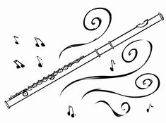 Flute Clipart Drawn Pencil And In Color With Black White