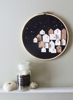 RESPITE tiny wood houses on hoop Neutral by InLittleHouses, $26.95