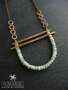 Fascinationstreet B-handmade: Collana minimal in ottone e rondelle di amazonite realizzata a mano