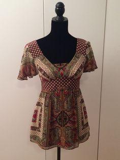 Nanette Lepore Silk Brown Boho Top Size 2 #NanetteLepore #Blouse #Casual