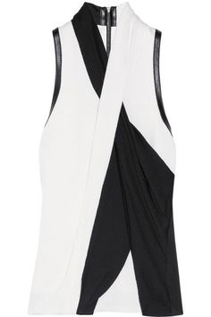 HELMUT LANG Draped leather-trimmed crepe top