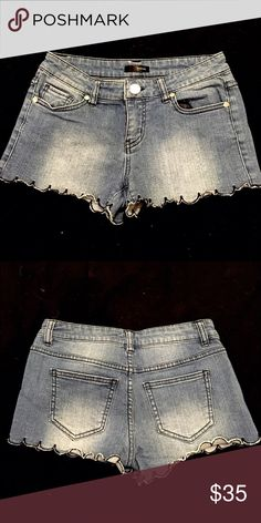 Aqua scalloped shorts Very comfortable, stretchy Jean shorts with scalloped bottoms. Gently worn/great condition! Aqua Shorts Jean Shorts