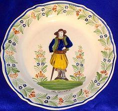 RARE CA 1895 HR Quimper Breton w Cane Demi Fantaisie Plate | eBay