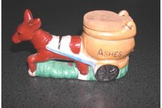 Ceramic Donkey with Cart and Wooden Lid Ashtray