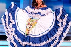 Belgica Suarez, Miss Honduras 2009 in the country's traditional costume by rui_chino Folk Costume, Costumes, Flamenco Skirt, World Thinking Day, Blue And White Dress, People Of The World, World Cultures, 15 Dresses, Traditional Dresses