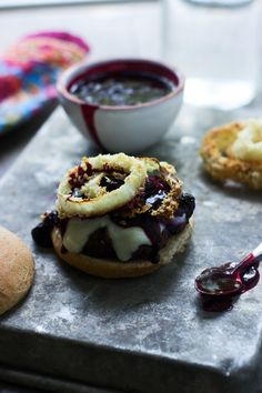 Burgers with Balsamic Blueberries, Baked Onion Ring and Mozzarella