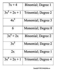 Polynomials Match-Up! Engage Kinesthetic Learners, iPad-friendly too! - MathyCathy - TeachersPayTeachers.com