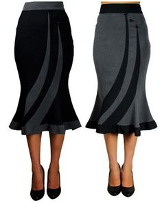 Fitted Flared Work Pencil Womens Skirt
