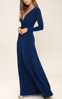 Chic-Quinox Navy Blue Long Sleeve Maxi Dress via @bestchicfashion
