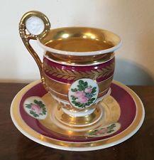 19th c. Antique French Empire Old Paris Porcelain Tea Cup & Saucer Gilt Lion