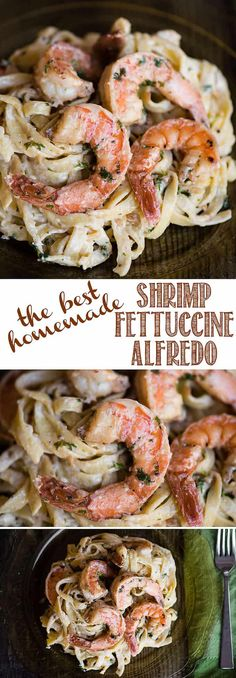Shrimp Fettuccine Alfredo is a combination of succulent and flavorful shrimp, homemade alfredo sauce, and tender pasta. If you love seafood and decadent, then you'll love this quick and easy recipe. Take it to the next level by making this Shrimp Fettuccine Alfredo with your own homemade pasta! #shrimp #alfredo #fettuccine #fettucinealfredo #pasta #homemade #recipe