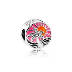 Tropical Sunset Charms All Charms are Pandora (Style) Only! ** Will Fit in Pandora Bracelet Pandora Travel Charms, Bracelet Pandora Charms, Pandora Style Charms, Pandora Jewelry, Silver Charms, Silver Beads, Silver Enamel, Cheap Pandora, Pandora Sale