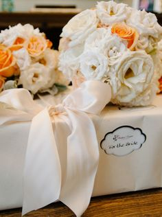 Peach and White Bouquets of Roses and Spray Roses by Andrea Layne Floral Design (www.andrealaynefloraldesign.com)