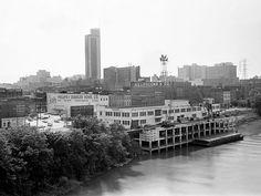The scene from the riverfront and downtown Nashville from the Shelby Street Bridge May 18, 1965