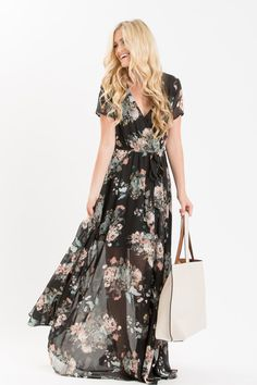 Always say yes to floral maxi dresses! We love this short sleeve chiffon beauty with a self tie waist and the most elegant flowy skirt! The gorgeous floral print is perfect for year-round wear so you'