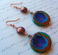 Decoupage Peacock Earrings No. 2 copper blue by MarteenysJewelry, $15.00