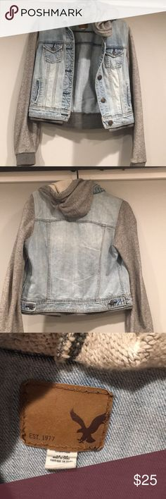 AE Jean Hooded Jacket Light wash jean jacket with grey sleeves and hood  Extremely soft and comfortable  Women's size medium American Eagle Outfitters Jackets & Coats Jean Jackets
