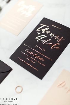 Gorgeously hand foiled in rose gold, these beautiful wedding invitations are modern and elegant. Modern Wedding Stationery, Luxury Wedding Invitations, Beautiful Wedding Invitations, Order Of Service, Rose Gold Foil, Adele, Signage, Rsvp, Place Cards