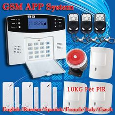DHL Free Shipping!English Russian Spanish French Voice Wireless GSM Alarm system Home security Alarm systems LCD Keyboard Sensor