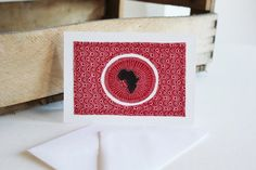 Love Africa Red Shweshwe fabric sewn card by luvieduviehandmade Announcement Cards, Shop Logo, South Africa, African, Craft Ideas, Posts, Stitch, Sewing, Fabric
