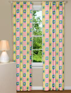 Retro Style Curtain Panel With Pastel Colors