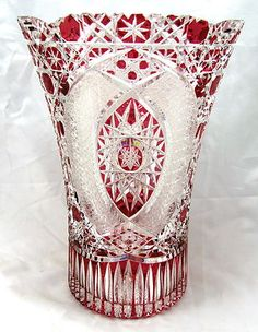 Meissen Signed Cranberry Red Cut Glass to Clear Crystal Vase Beautiful Treasure | eBay