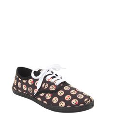 Emoji Faces Lace-Up Sneaker Hot Topic ($20) ❤ liked on Polyvore featuring shoes, sneakers, canvas lace up sneakers, lacing sneakers, pointy sneakers, lace up sneakers and canvas lace up shoes