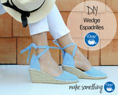Dritz Espadrilles: Make a Pair of Wedge Espadrilles. Learn how to DIY a sweet pair of wedges and spring into the season with a pair of custom espadrilles. Trash To Couture, Make Blog, Sewing Clothes, Wedge Shoes, Personal Style, Espadrilles, Slippers, Wedges, Pairs