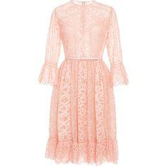 Elie Saab Lace and Ajoure Lace Short Dress ($4,875) ❤ liked on Polyvore featuring dresses, elie saab, vestido, a line dress, long-sleeve mini dress, lace sleeve dress, short flare dress and lace fit-and-flare dresses