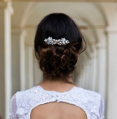 Helen & sienna bridal- Amalie comb- Perfect for adorning an updo or tucking behind your ear, this beautiful handmade feather shape large Swarovski and gemstone crystals is  whimsical and otherworldly statement piece may be the only accessory you need -  Wedding jewelry