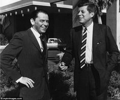 Sinatra and John Kennedy share a joke at the Sands, in February, 1960