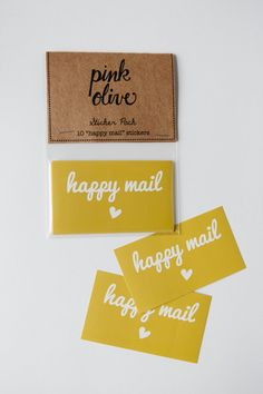 Happy Mail Sticker Set by @pinkoliveinc on Etsy, $6.00 #stickers #stationery #mail #post #typography