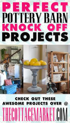 I love Pottery Barn so I plan to check these out! 20 Perfect Pottery Barn Knock-Off Projects - The Cottage Market Do It Yourself Furniture, Do It Yourself Home, Diy Furniture, Wicker Furniture, Diy Projects To Try, Home Projects, Craft Projects, Craft Ideas, Decor Ideas