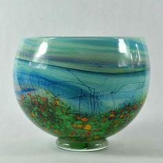 LANDSCAPE bowl glass art by Peter Layton British London sculpture