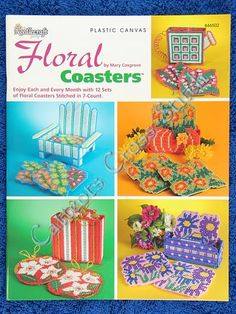 free plastic canvas coaster patterns | Plastic Canvas Pattern Floral Coasters 12 Sets Rose Daffodil Violets ...