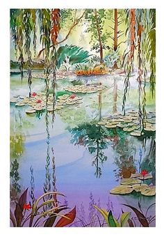 'Mondrian's Water Lilies' - watercolor  John Norman.
