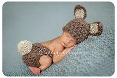 Brown Bunny Hat Diaper Cover Set Newborn Baby