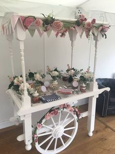 Available to hire Clarissa the candy cart. Complete with bunting, candy jars or vintage dishes and flowers. Beautiful for any special xx Wedding Props, Wedding Hire, Wedding Decorations, Wedding Updo, Wedding Sweets, Wedding Candy, Wedding Sweet Cart, 21st Bday Ideas, Vintage Bottles