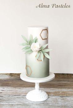 Modern Wedding Cakes mint wedding cake with gold geometric detail Mint Wedding Cake, Floral Wedding Cakes, Wedding Cake Designs, Green Wedding, Beautiful Wedding Cakes, Gorgeous Cakes, Pretty Cakes, Geometric Cake, Geometric Wedding