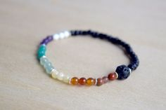 CHAKRA BRACELET // Essential Oil Diffuser Bracelet - Lava Stone Bracelet - Chakra Healing — click the picture to purchase on www.mumblesandthings.com