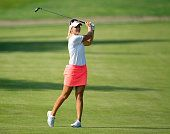 Anna Nordqvist of Sweden plays her second shot at the par 5 18th hole during the final round of the 2015 KPMG Women's PGA Championship on the West...