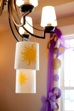 Party package includes lanterns, bunting pennant flags, and little skewers... <3