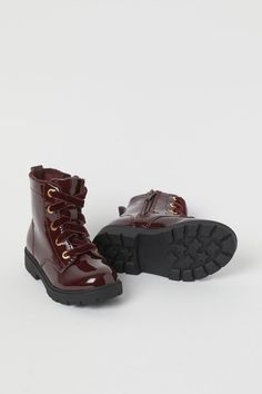 Patent boots - Dark red - Kids | H&M GB 2 H&m Boots, Ankle Boots, Hello Autumn, Fashion Company, Low Heels, Dark Red, Style Guides, Patent Leather, Hiking Boots
