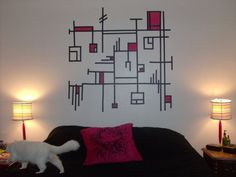 bedroom wall art with electrical tape! - HOME SWEET HOME