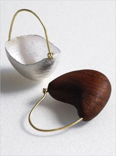 Shell and wood cup earrings to go with the necklace by ADELE BRERETON-UK