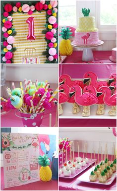 "I see your First Birthday Party theme and raise you a Thirty-First Birthday Party Theme YESSSSSS. ""Flamingo and Pineapple First Birthday Party"""