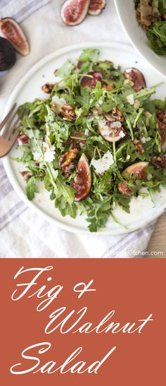 Ripe figs paired with toasted walnuts, Pecorino Romano, rocket and a honey balsamic reduction. | Healthy Lunch, Light Lunch Recipes, Salad Recipes, Fig Recipes, Summer Salads