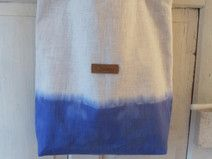 Leinentasche Shopper groß Batik weiß blau